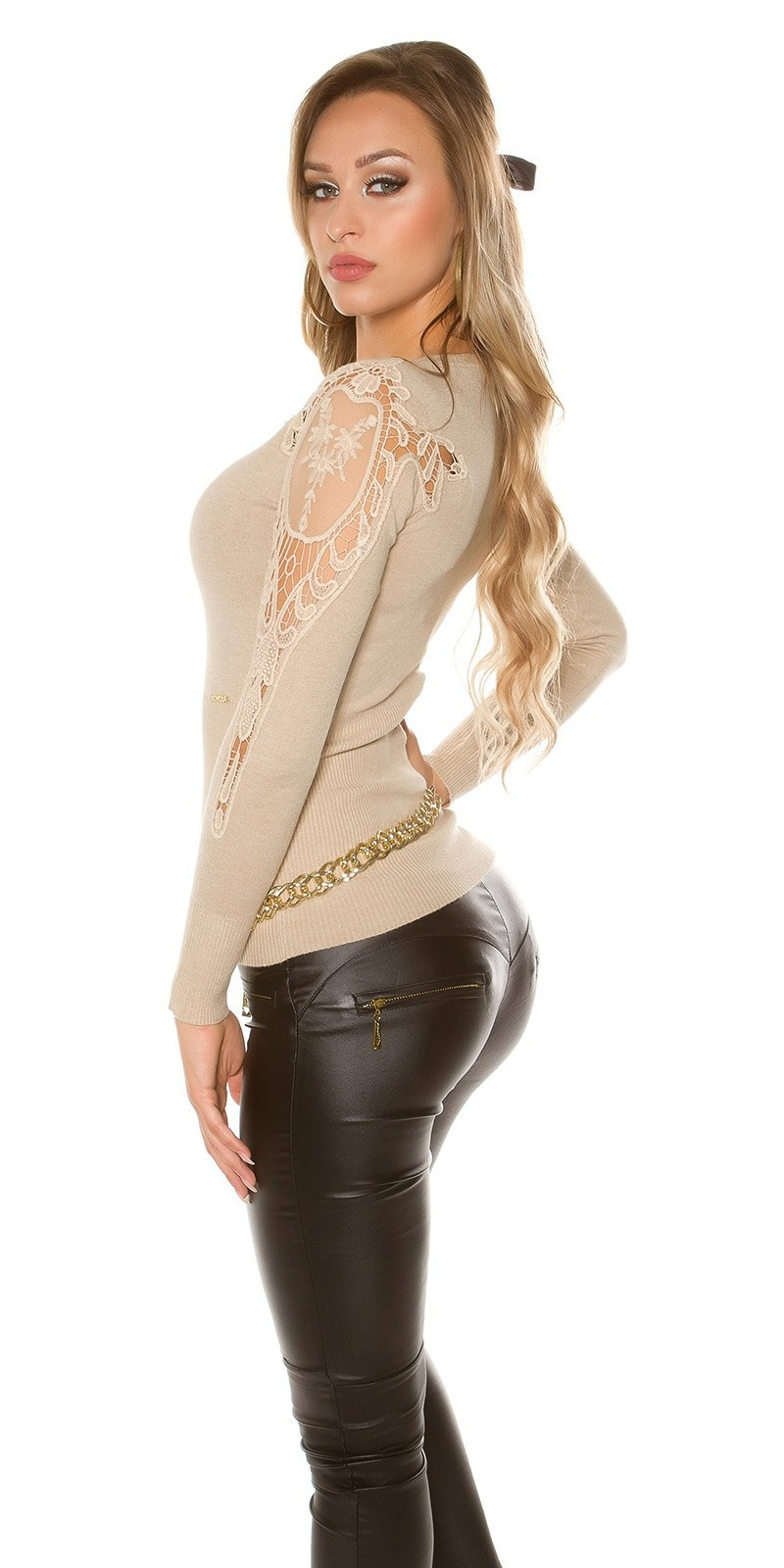 Sexy KouCla V-Cut sweater with embroidery Beige