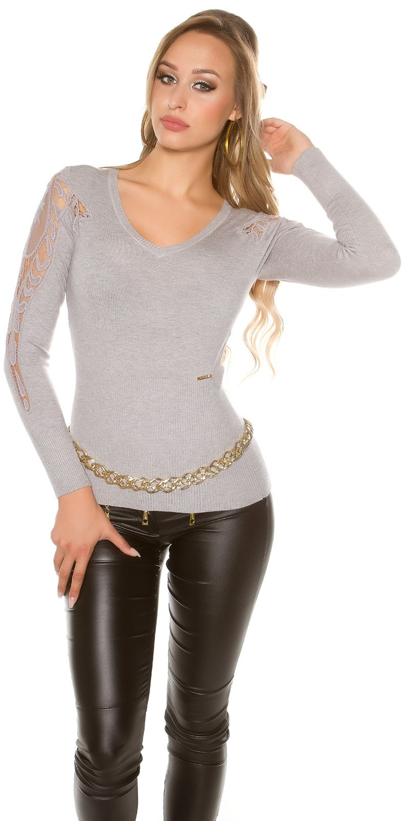 Sexy KouCla V-Cut sweater with embroidery Grey