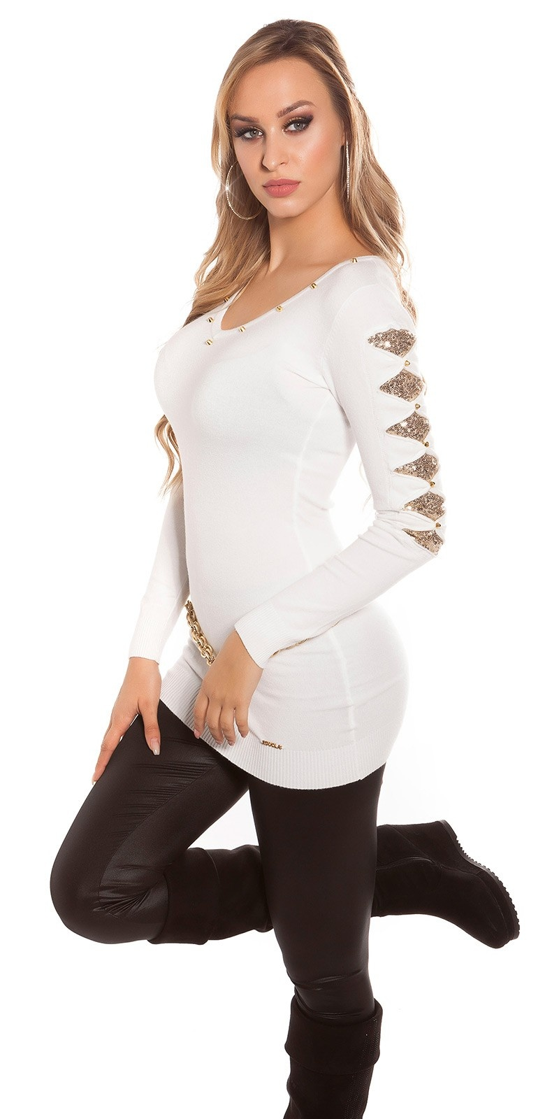 Sexy KouCla longsweater with sequin-applications White