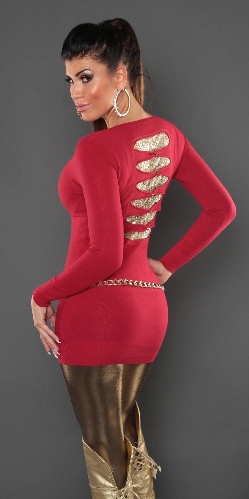 Lange sweater-trui met pailletten rood