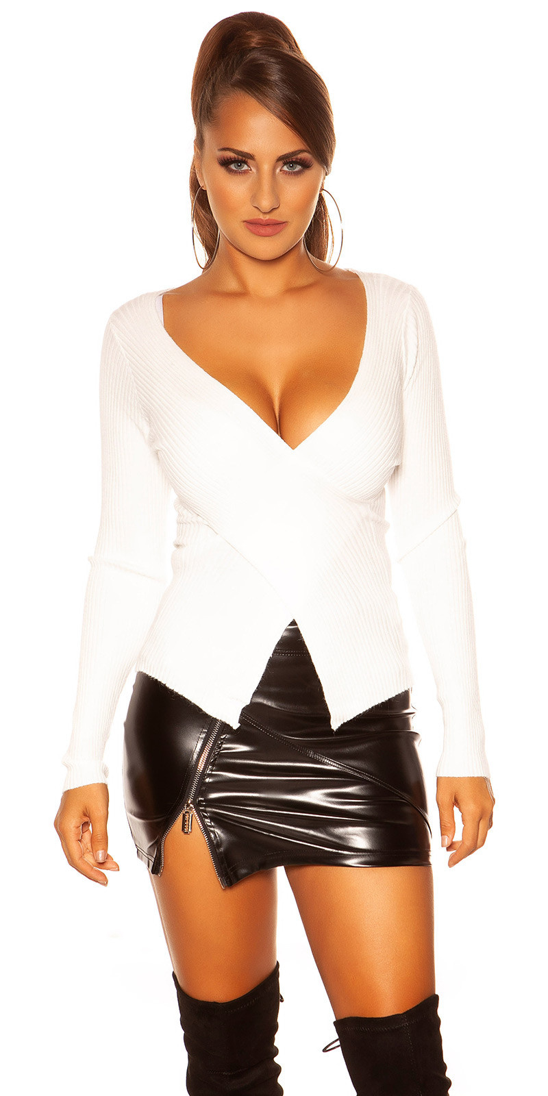 Trendy pullover met wikkel-look creme