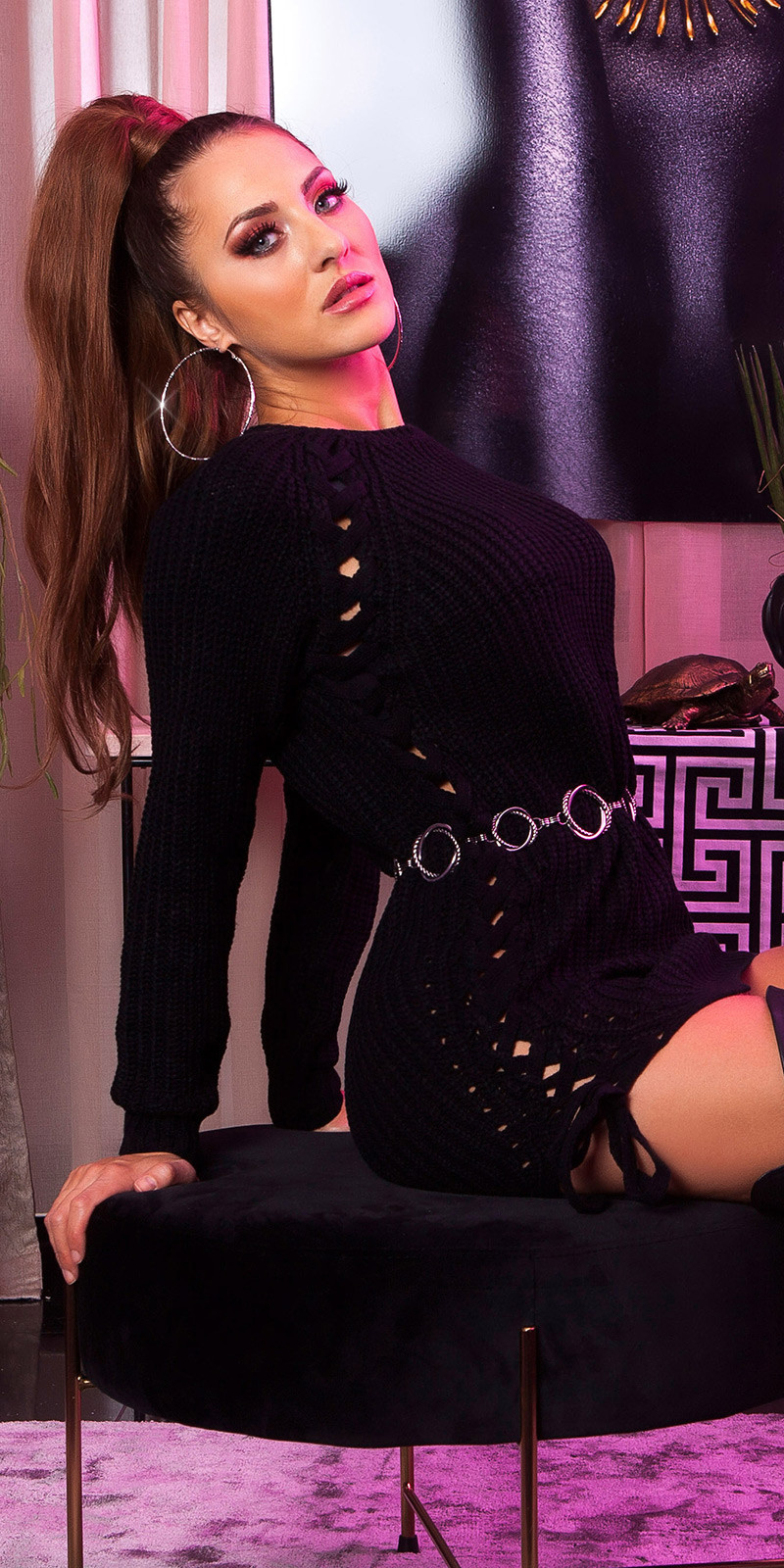 Sexy KouCla knit jumper with lacing Black