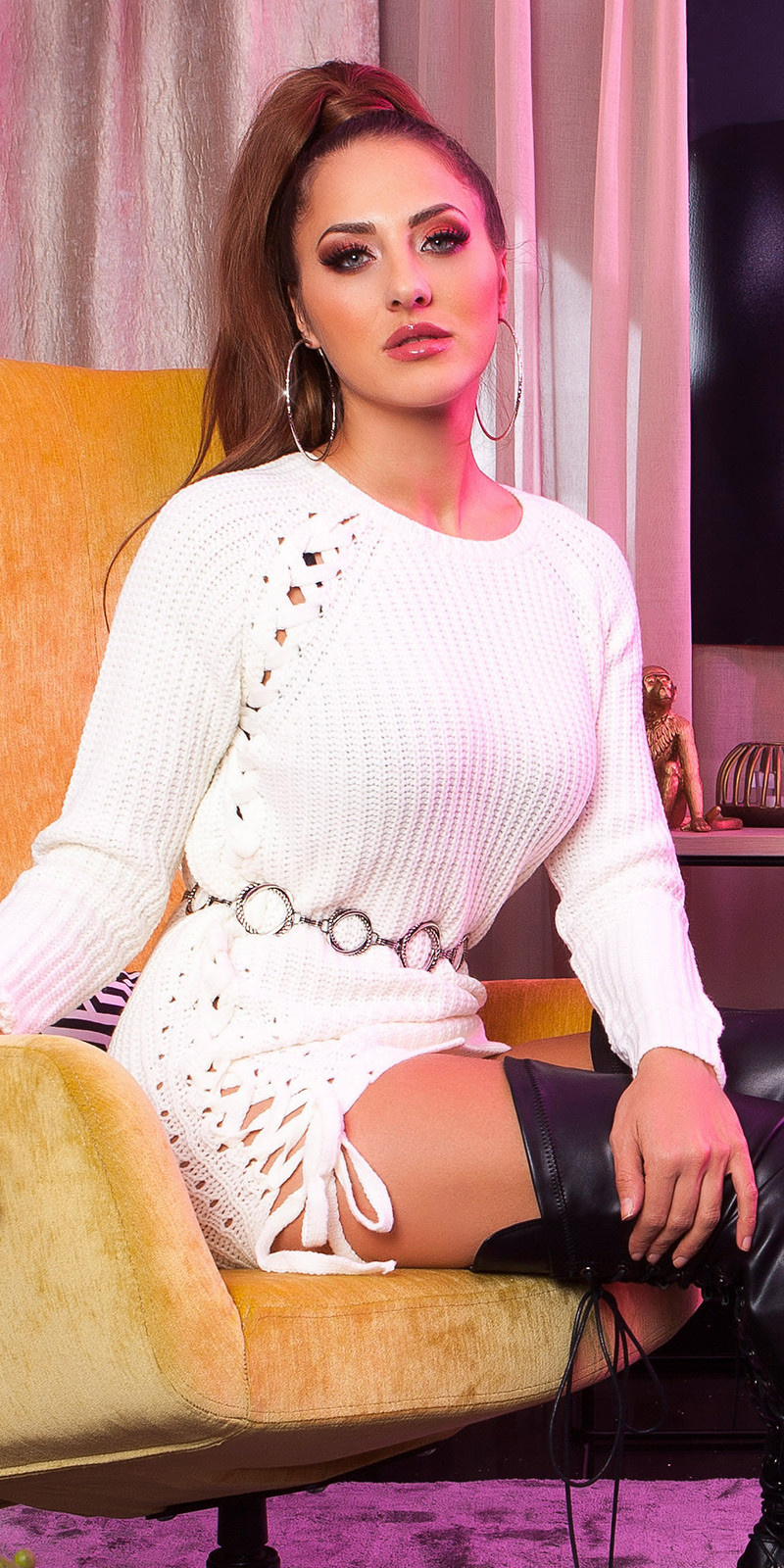 Sexy KouCla knit jumper with lacing Cream