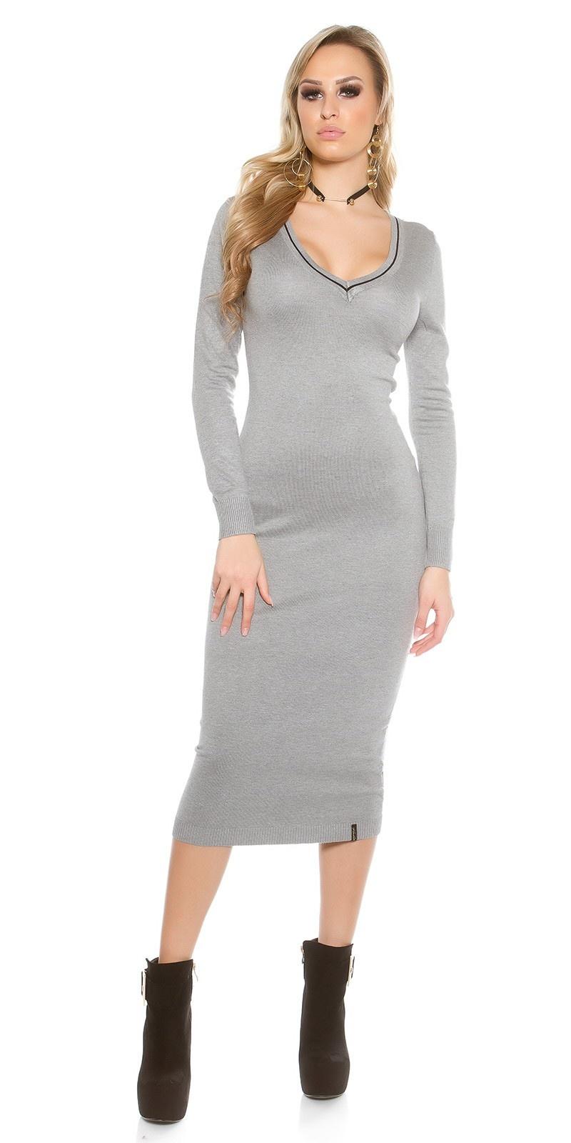 Gebreide maxi-jurk grijs