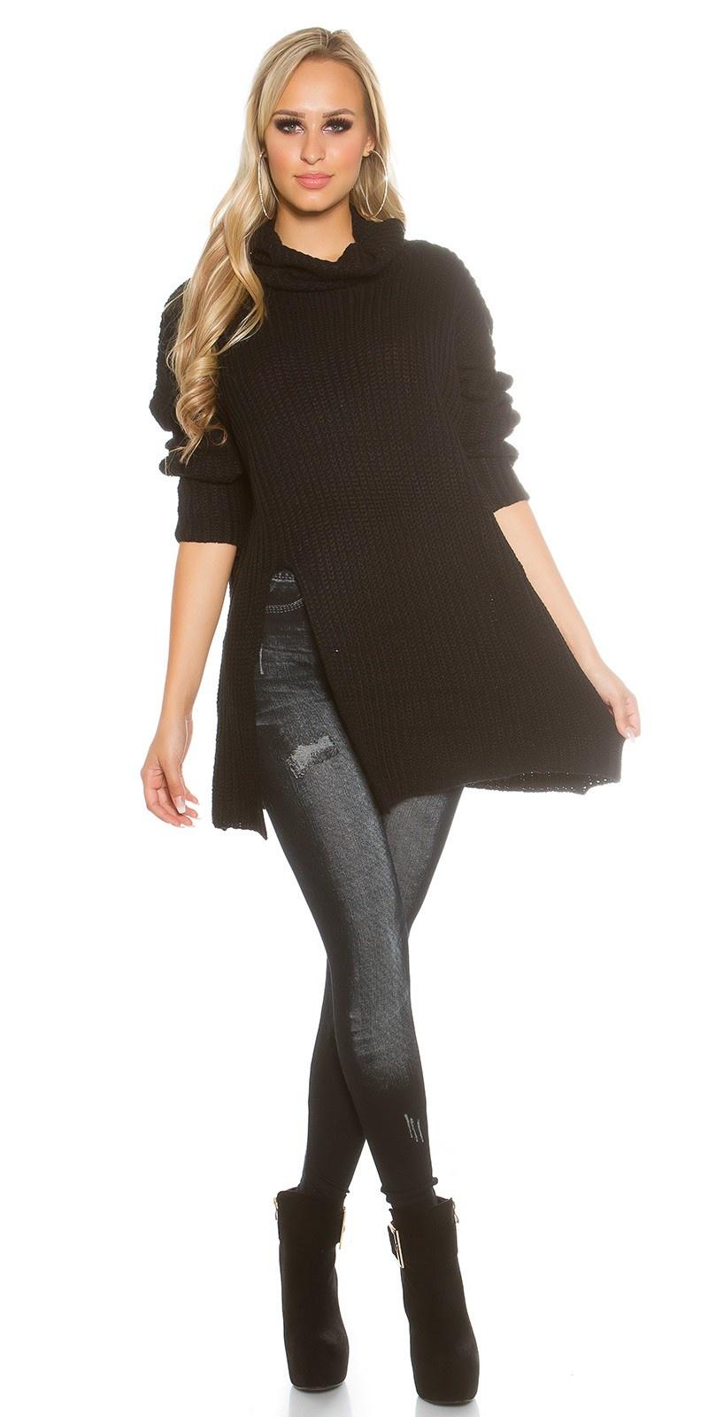 Oversized gebreide col-trui zwart