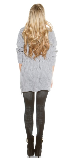 Oversize turtleneck knit jumper Grey