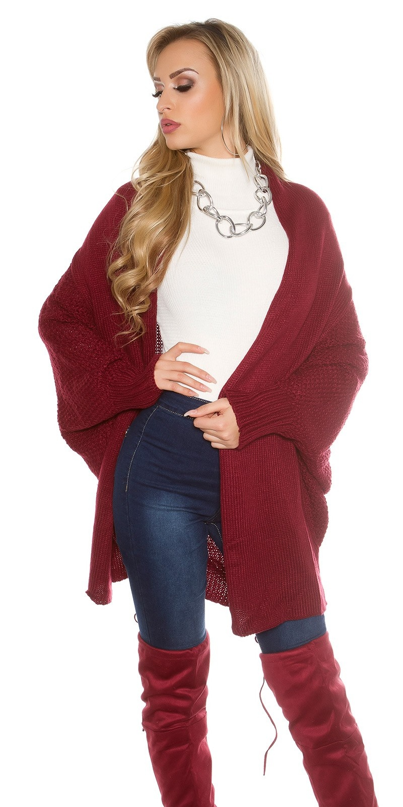 Oversized gebreide Cardigan Bordeaux