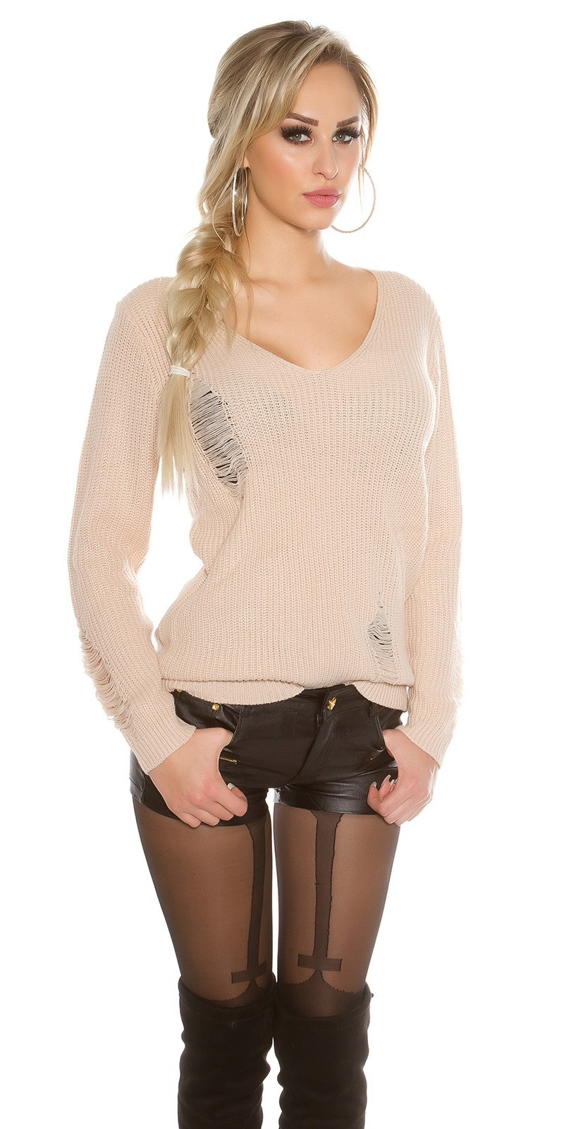 Gebreide Sweater Destroyed-Look Beige