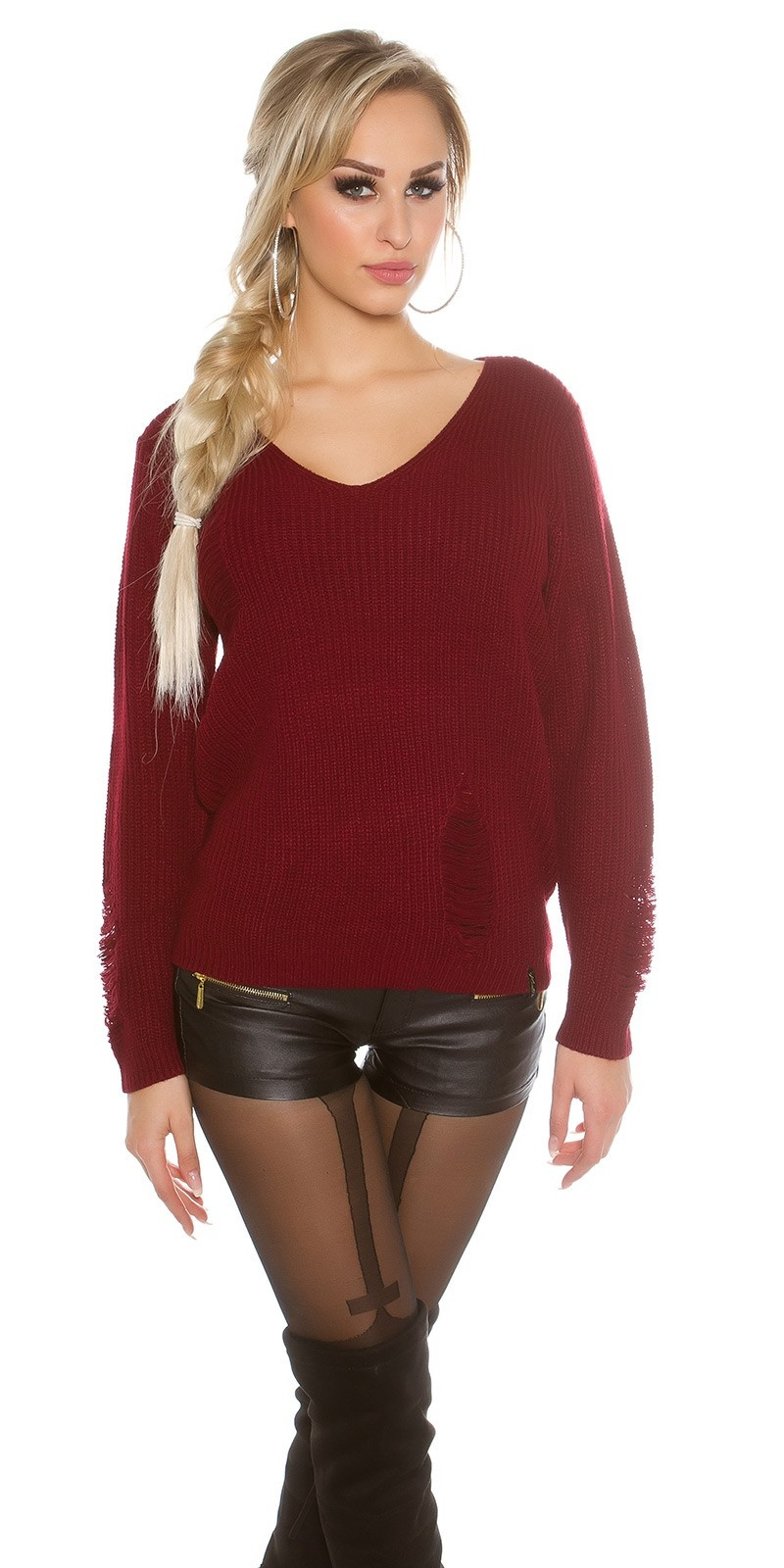Gebreide Sweater Destroyed-Look Bordeaux