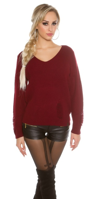 12e51f09aeffe Knit sweater Destroyed Look Bordeaux - ai0000IN-20163-3 by Cosmoda ...