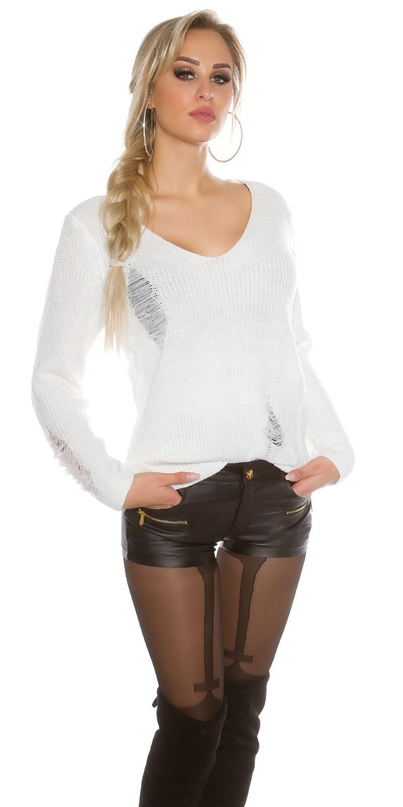 Gebreide Sweater Destroyed-Look Wit
