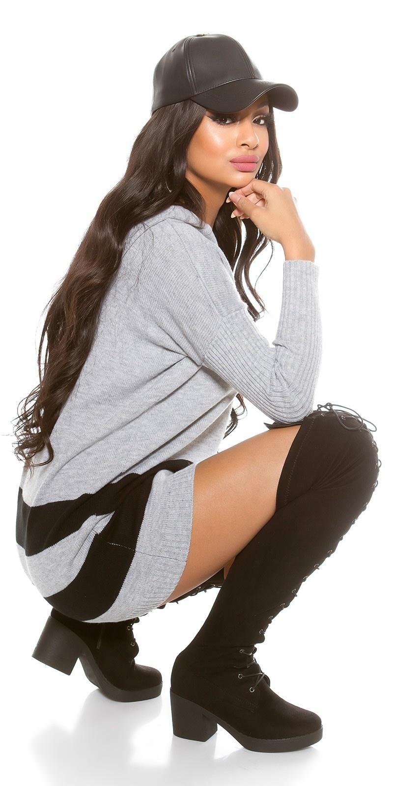 Oversized sweater-trui met capuchon grijs