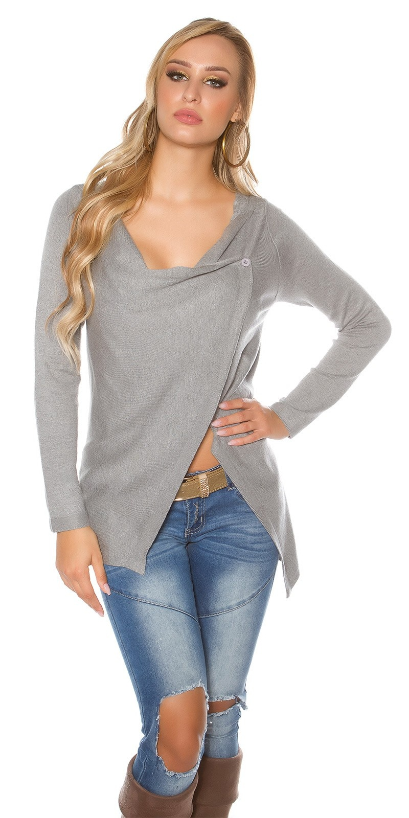 Trendy KouCla cardigan asymmetric Grey