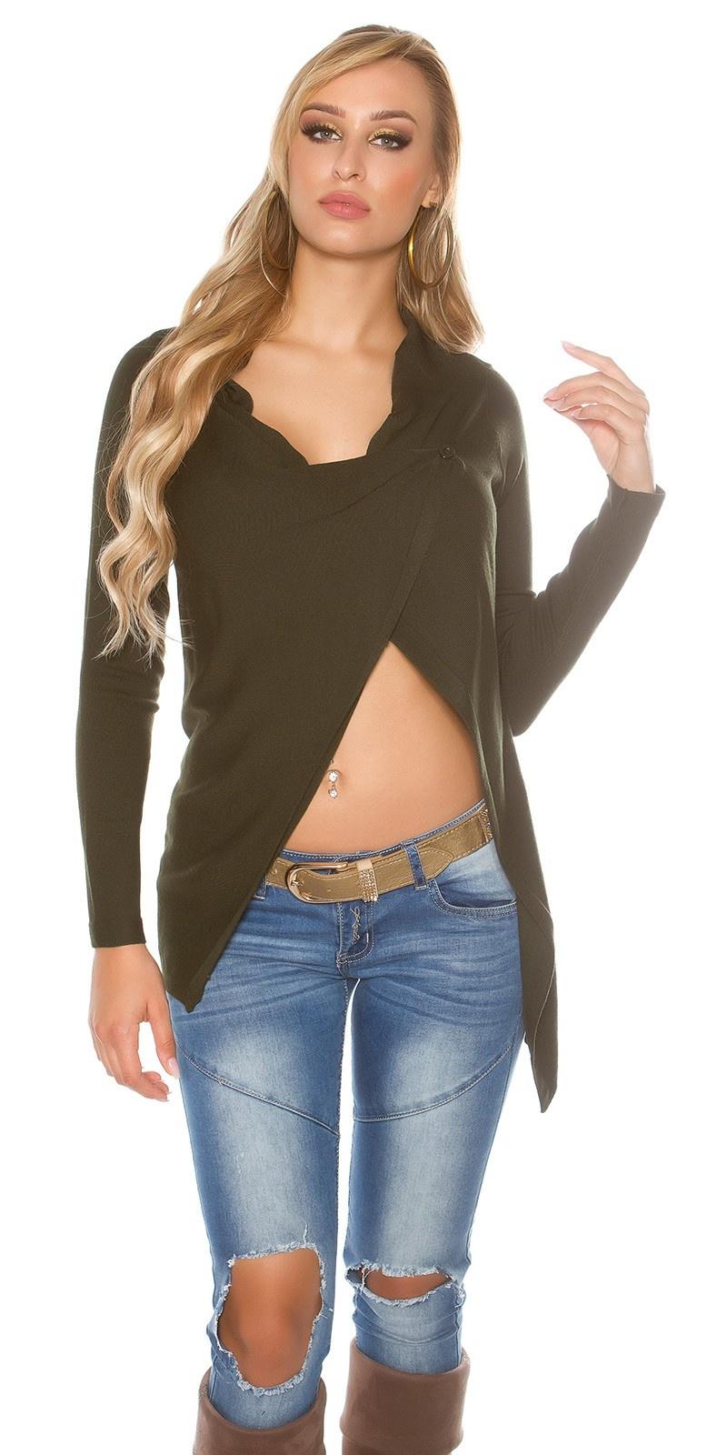 Trendy KouCla cardigan asymmetric Khaki