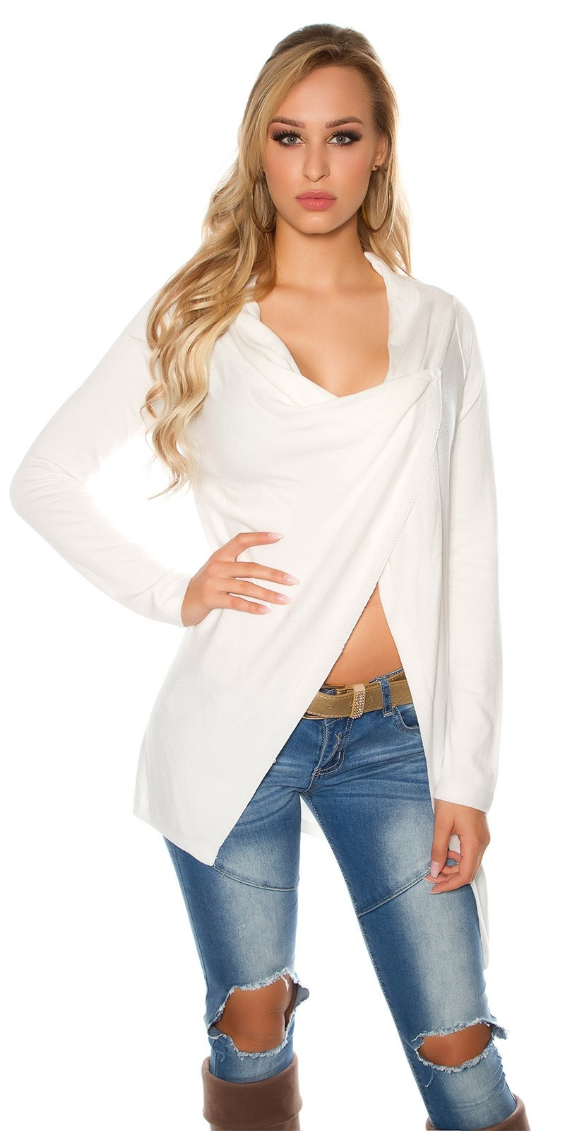 Trendy KouCla cardigan asymmetric White