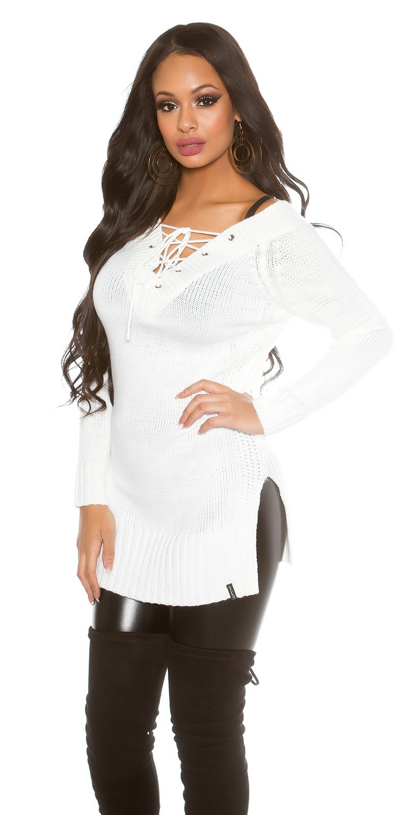 Knit Sweater with XL V-Cut laced White