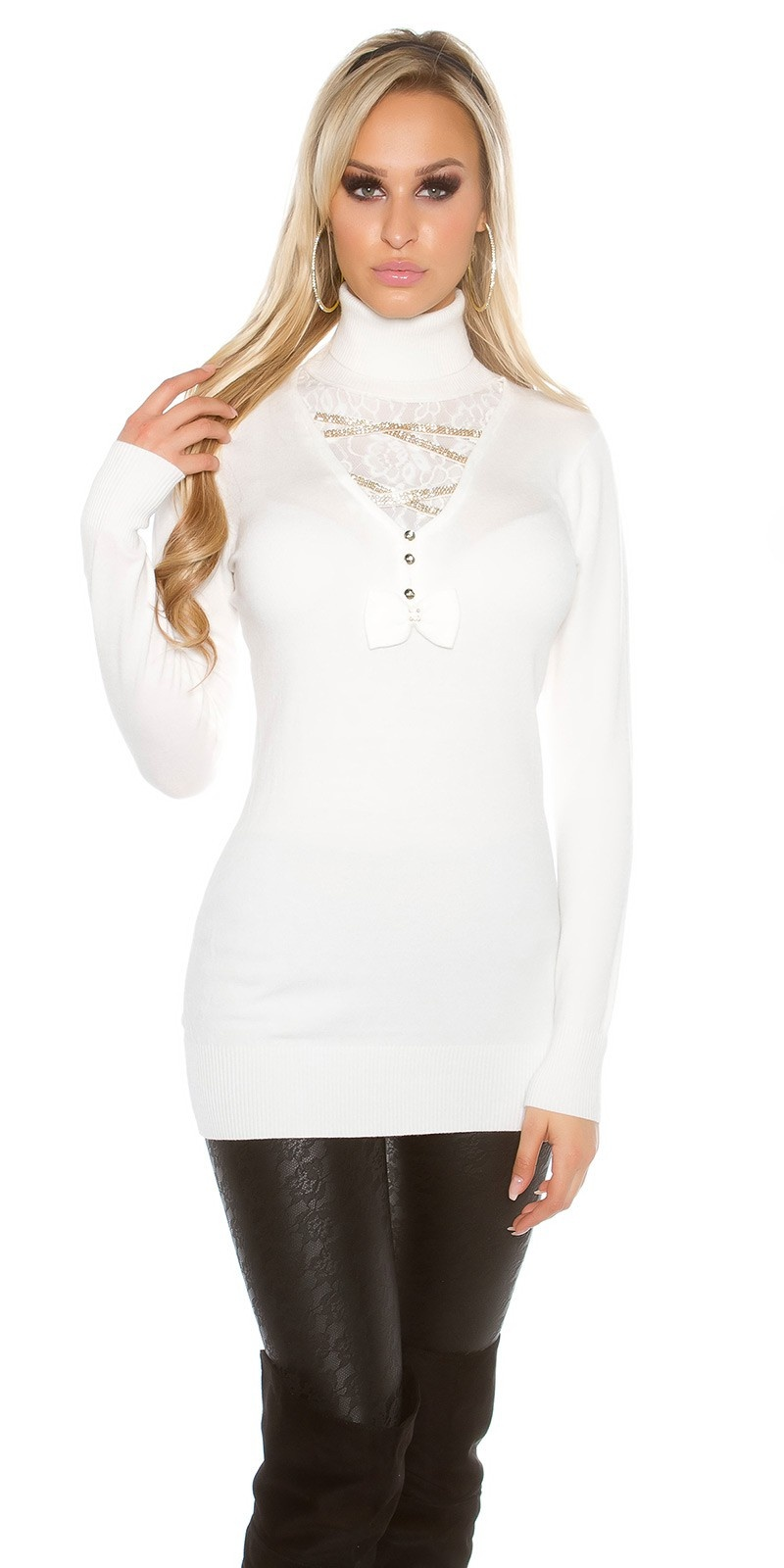 Trendy pullover met strass steentjes en strik cremewit