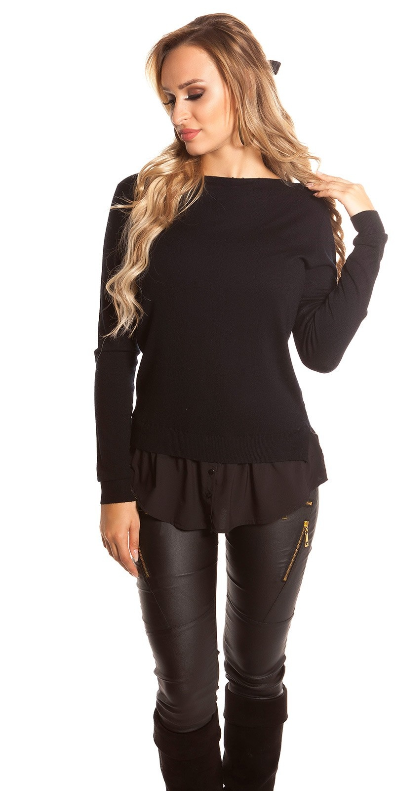Trendy KouCla 2in1 jumper with buttons Black