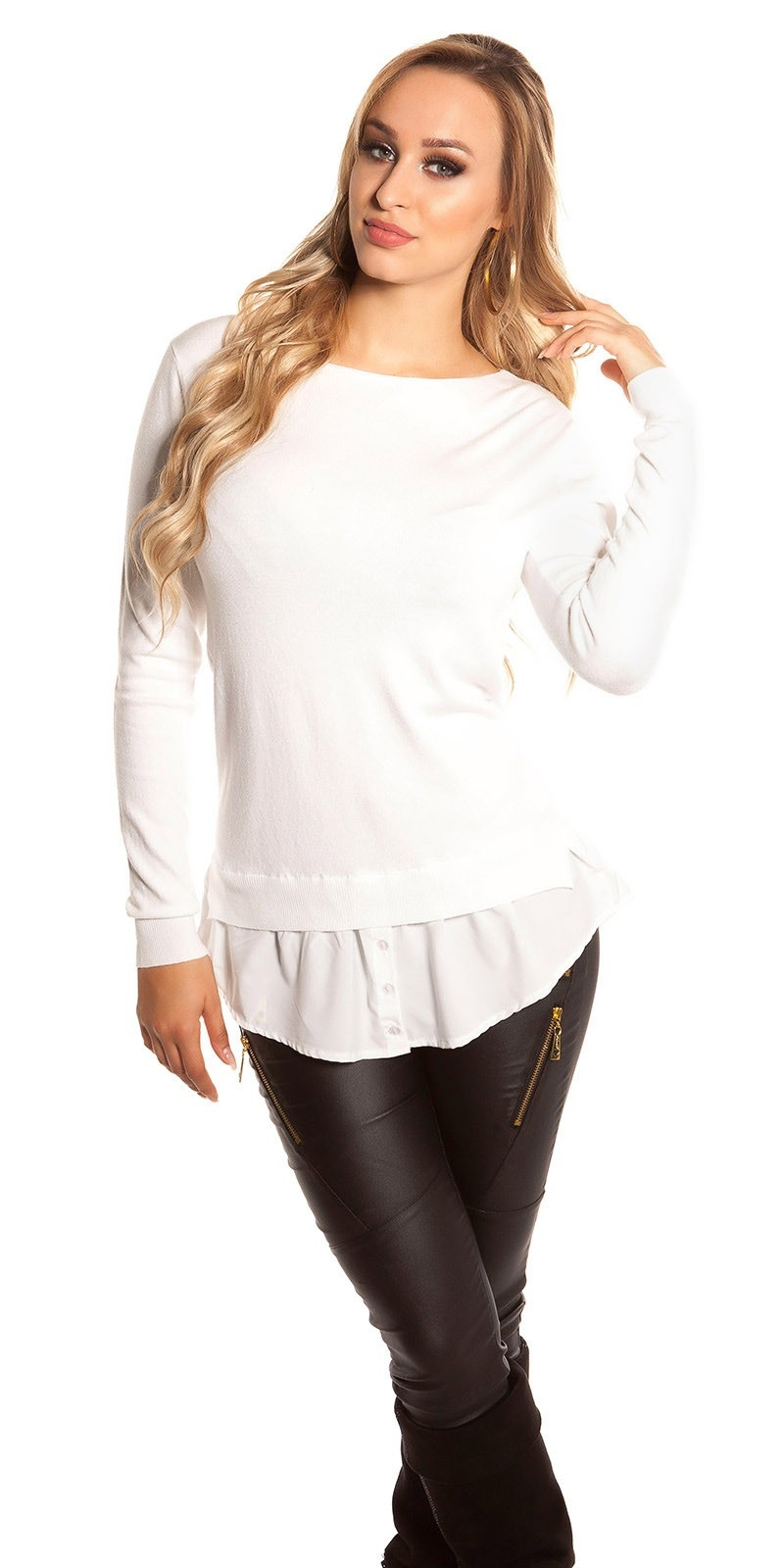 Trendy KouCla 2in1 jumper with buttons Cream