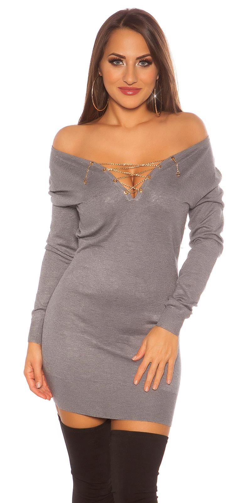 Trendy pullover met ketting en strass steentjes grijs