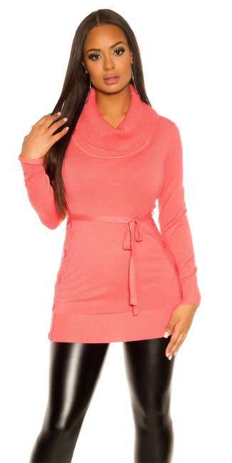 Trendy KouCla knitted dress with buttons Coral