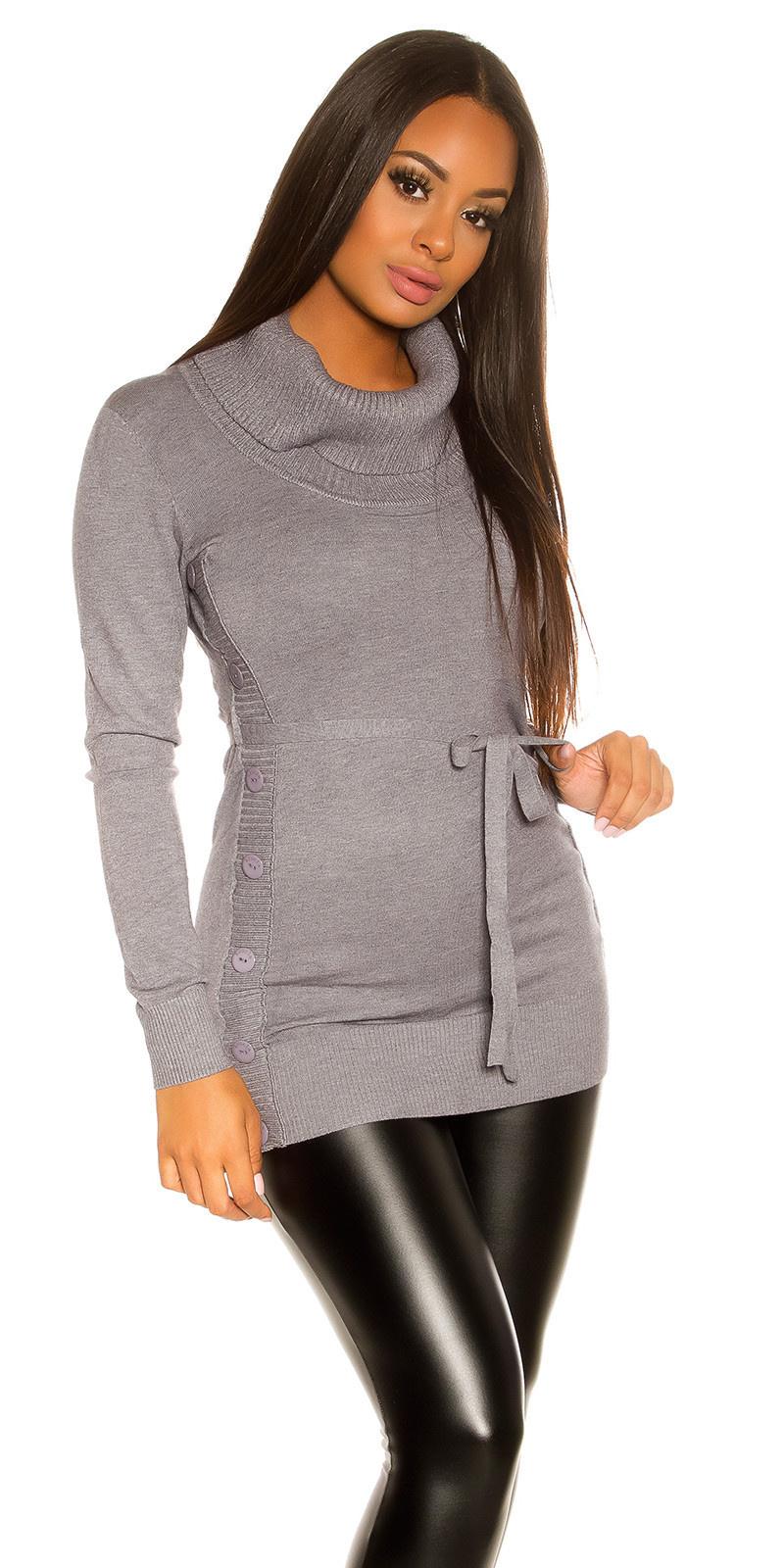 Trendy gebreide jurk met knopen grijs