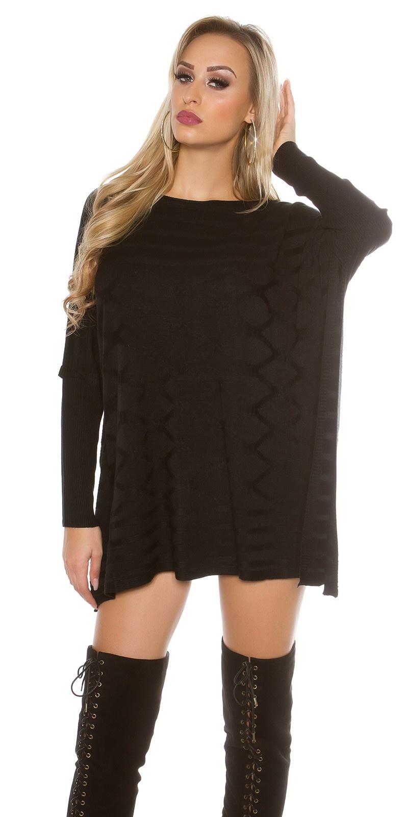 Oversized Vleermuis-trui Zwart