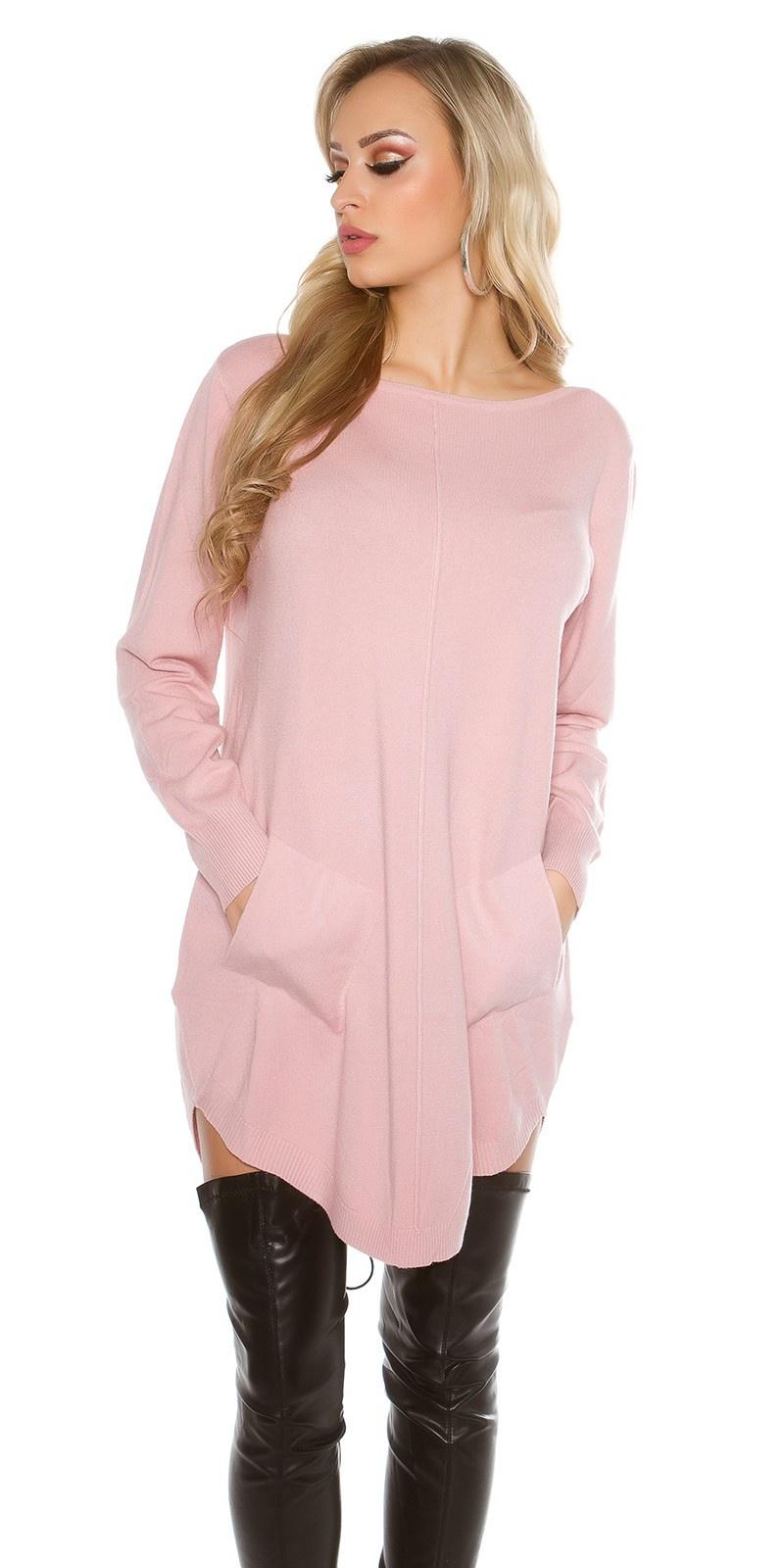 Oversized trui met zakken Oud-roze