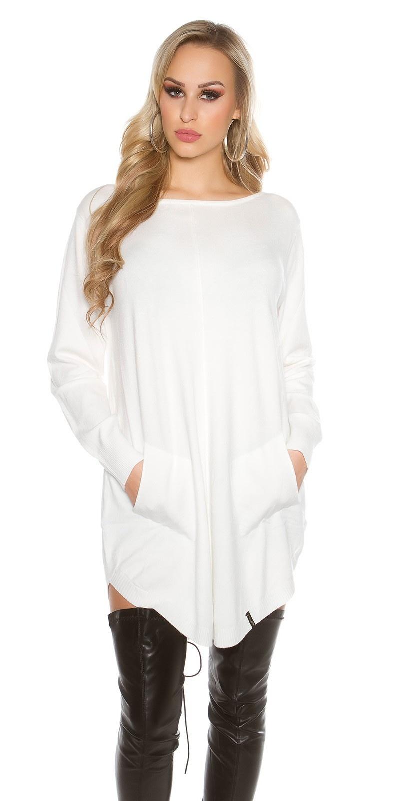 Oversized trui met zakken Wit