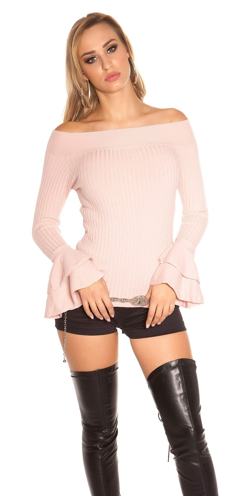 Sexy KouCla Ripp knit sweater with flounce Antiquepink