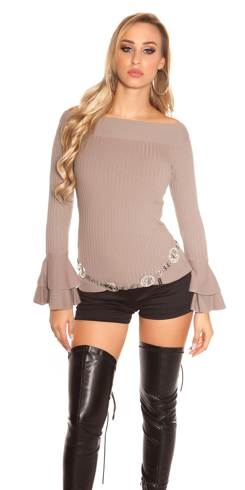 Sexy KouCla Ripp knit sweater with flounce Cappuccino