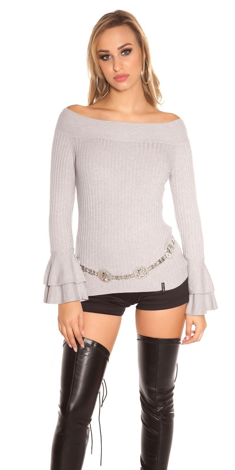 Sexy geribde gebreide sweater-trui met volant grijs