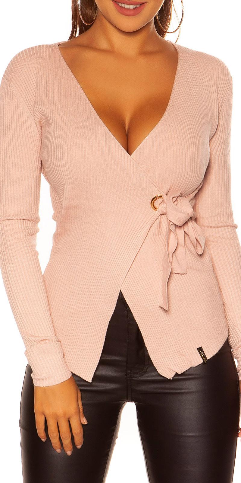 Sexy wikkel sweater-trui antiekroze