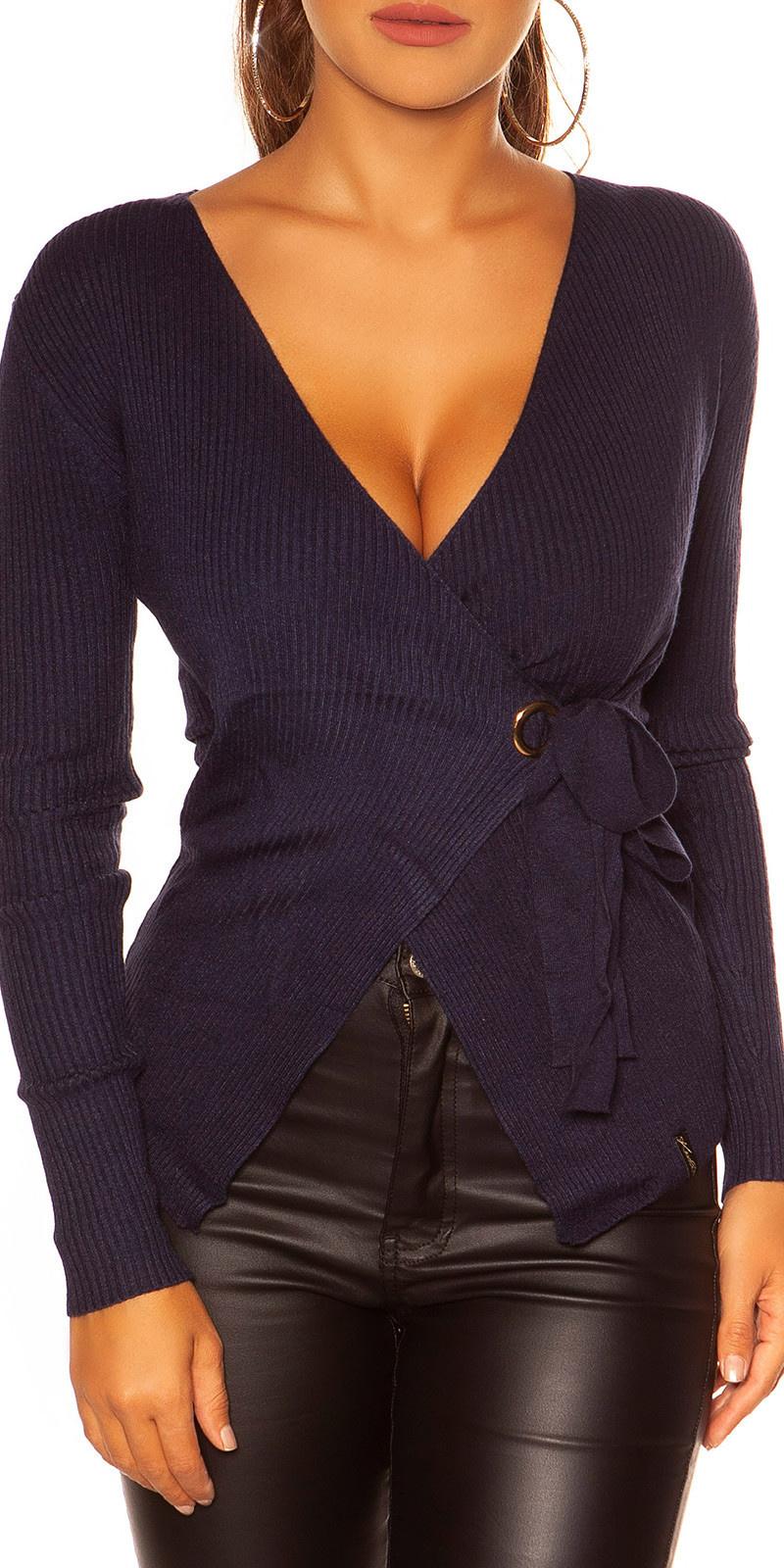 Sexy wikkel sweater-trui marineblauw