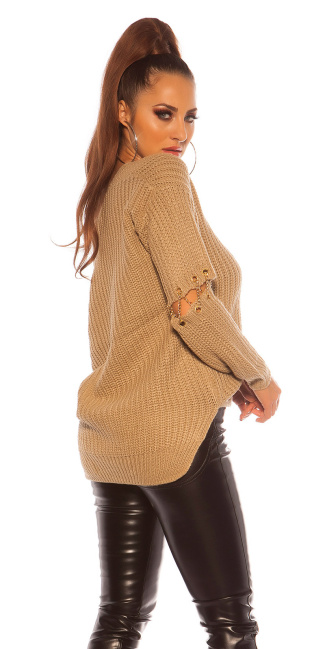 Sexy KouCla V-Cut sweater with chain decoration Cappuccino