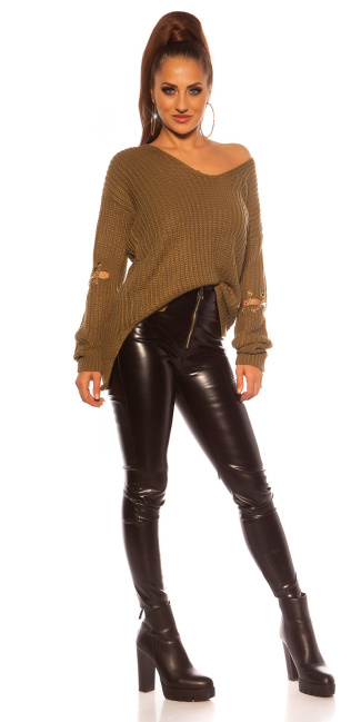 Sexy KouCla V-Cut sweater with chain decoration Khaki