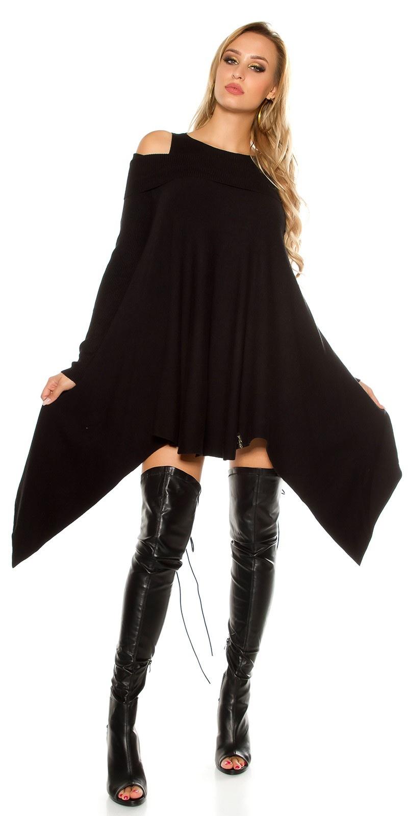 Sexy fijn gebreid mini jurkje asymmetrisch zwart