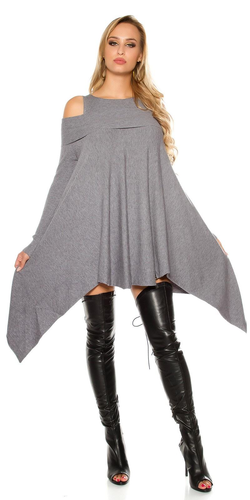 Sexy KouCla fine knit mini dress asymmetrical Grey