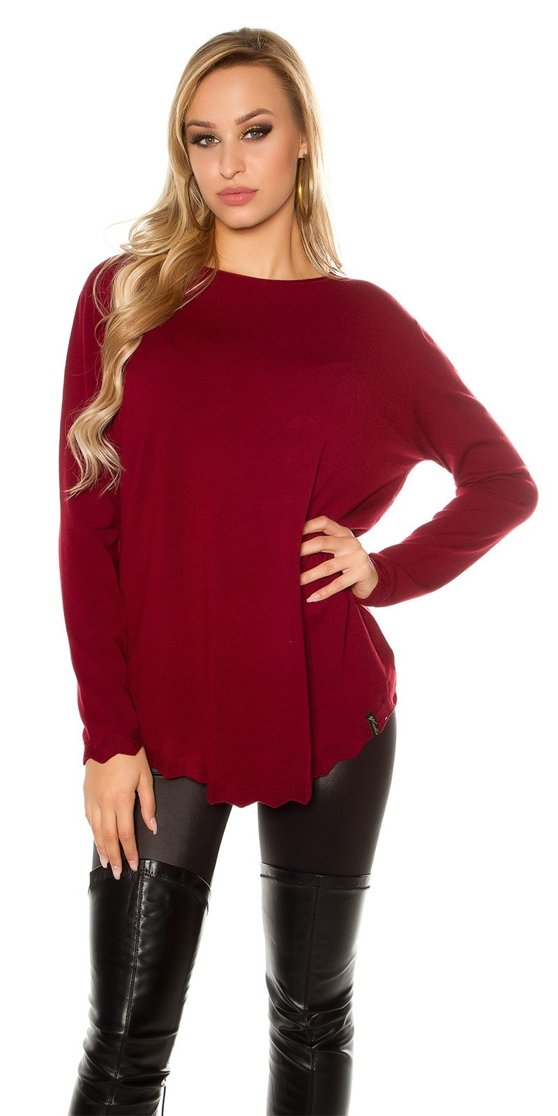 Trendy KouCla Oversize sweater Bordeaux