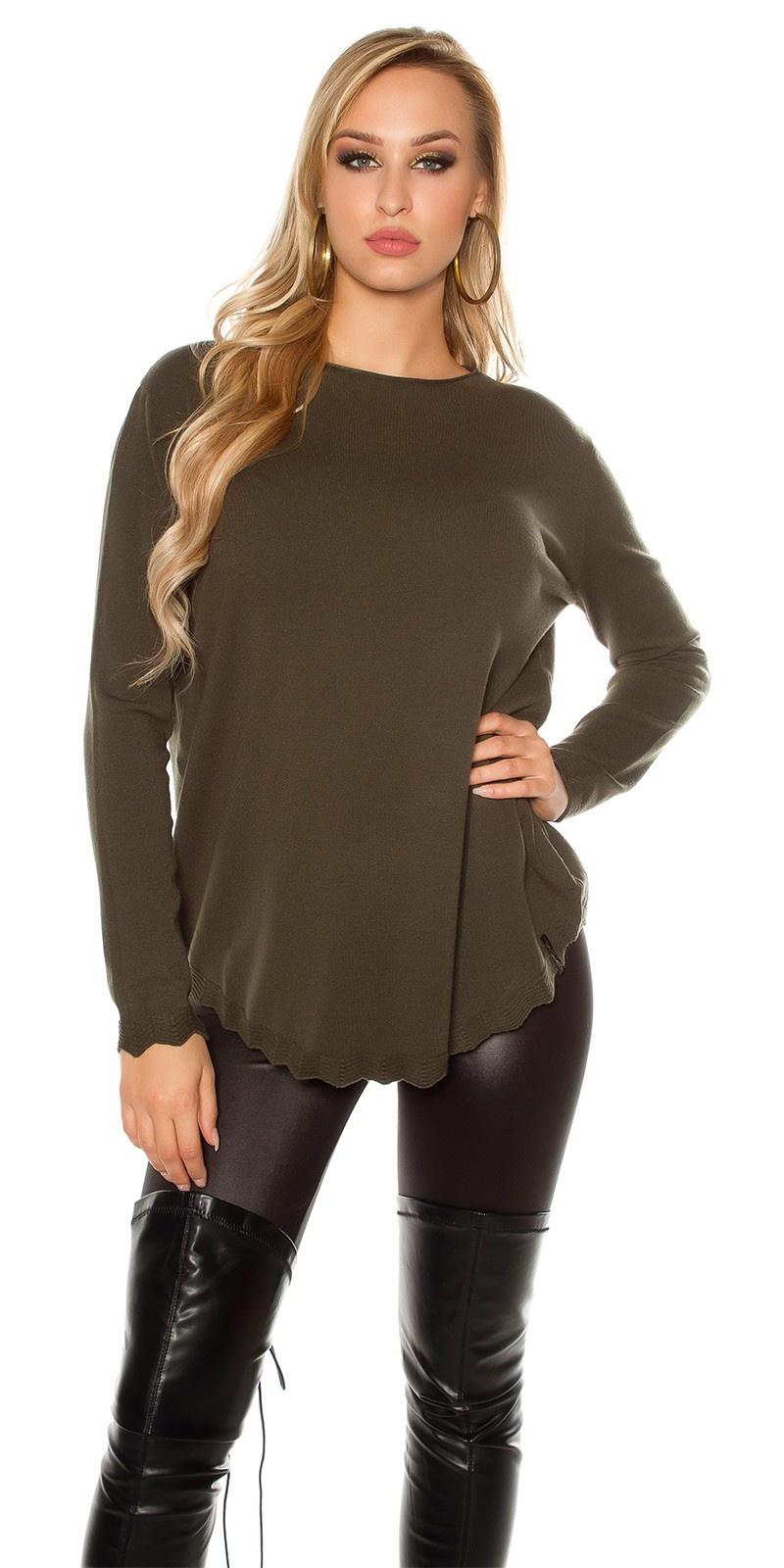 Trendy oversized sweater-trui groen