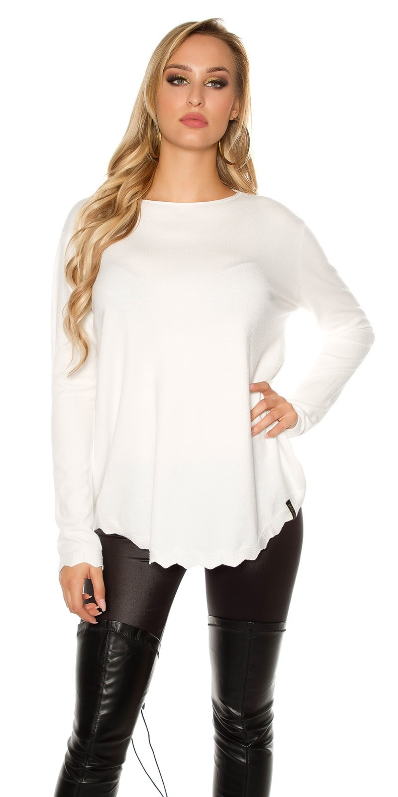 Trendy KouCla Oversize sweater White