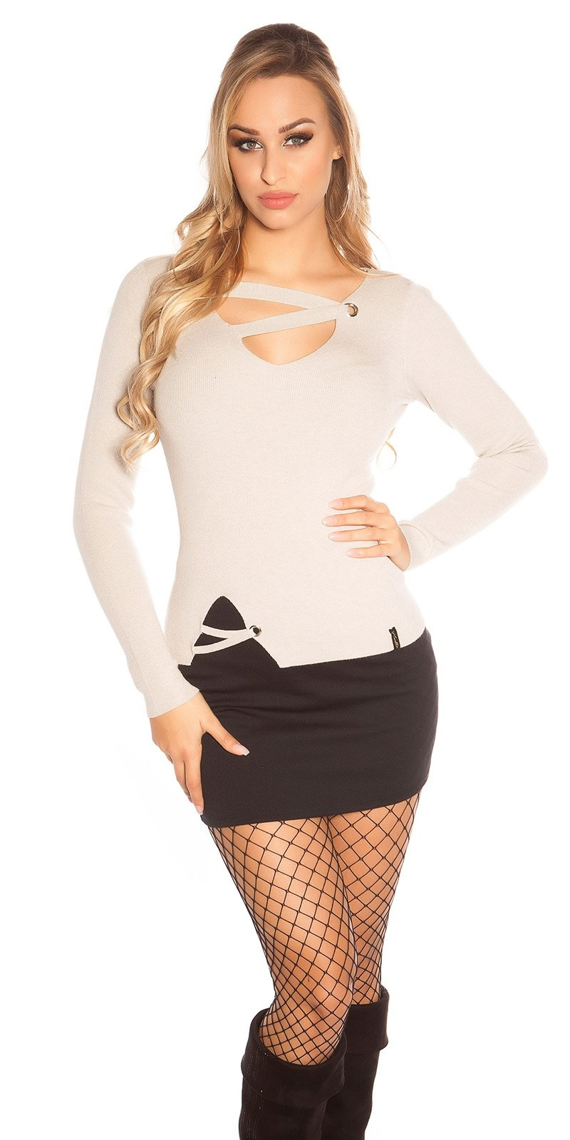 Trendy KouCla V-Cut fine knit sweater w. lacing Beige