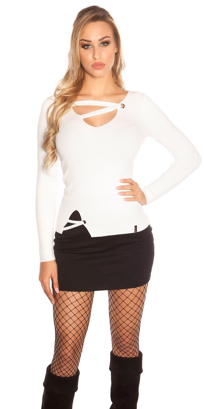 Trendy KouCla V-Cut fine knit sweater w. lacing White
