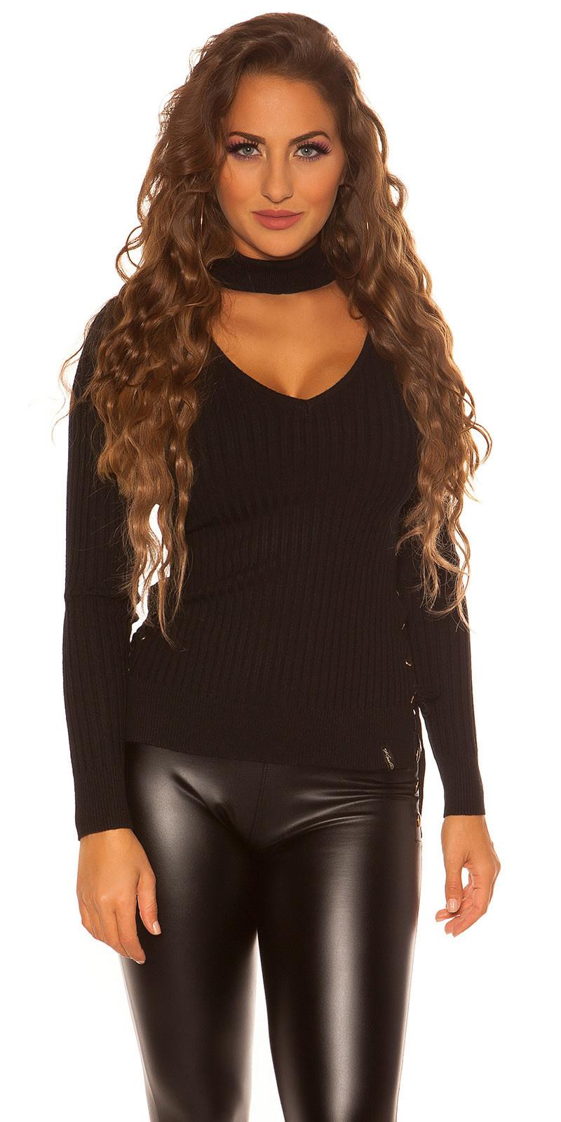 Sexy v-opening geribde trui zwart