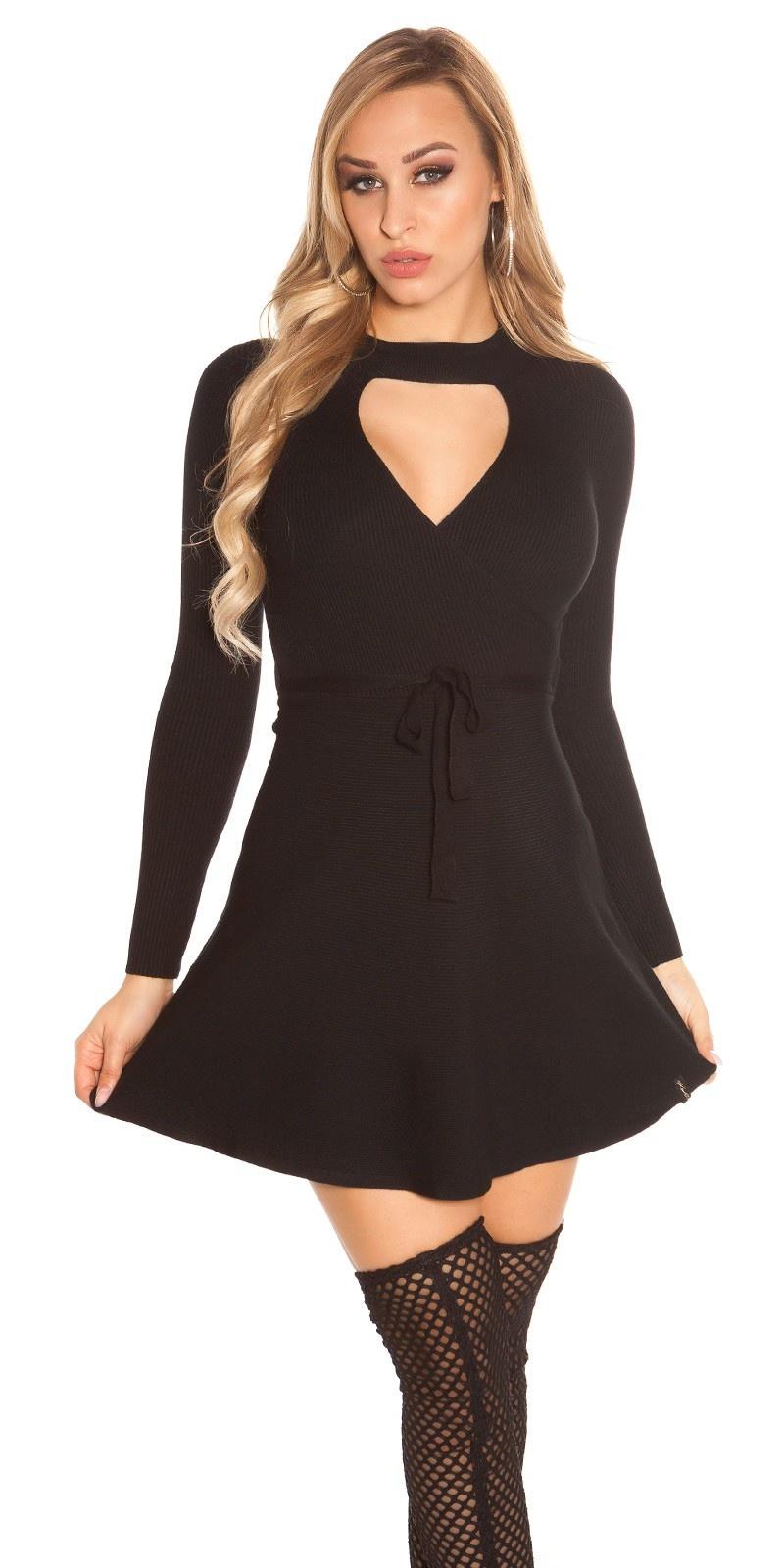 Sexy geribde gebreide jurk wikkel look zwart