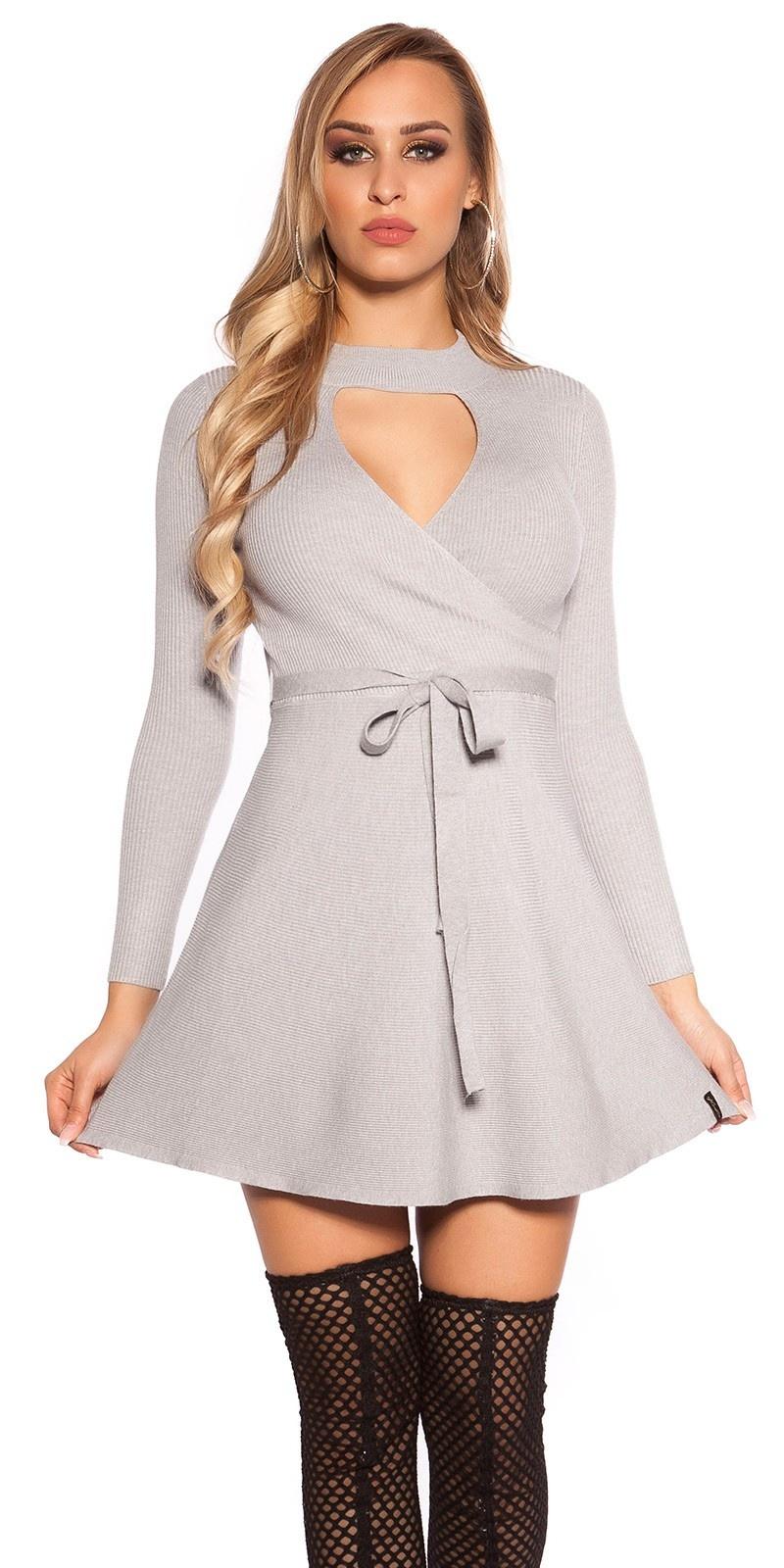 Sexy geribde gebreide jurk wikkel look grijs