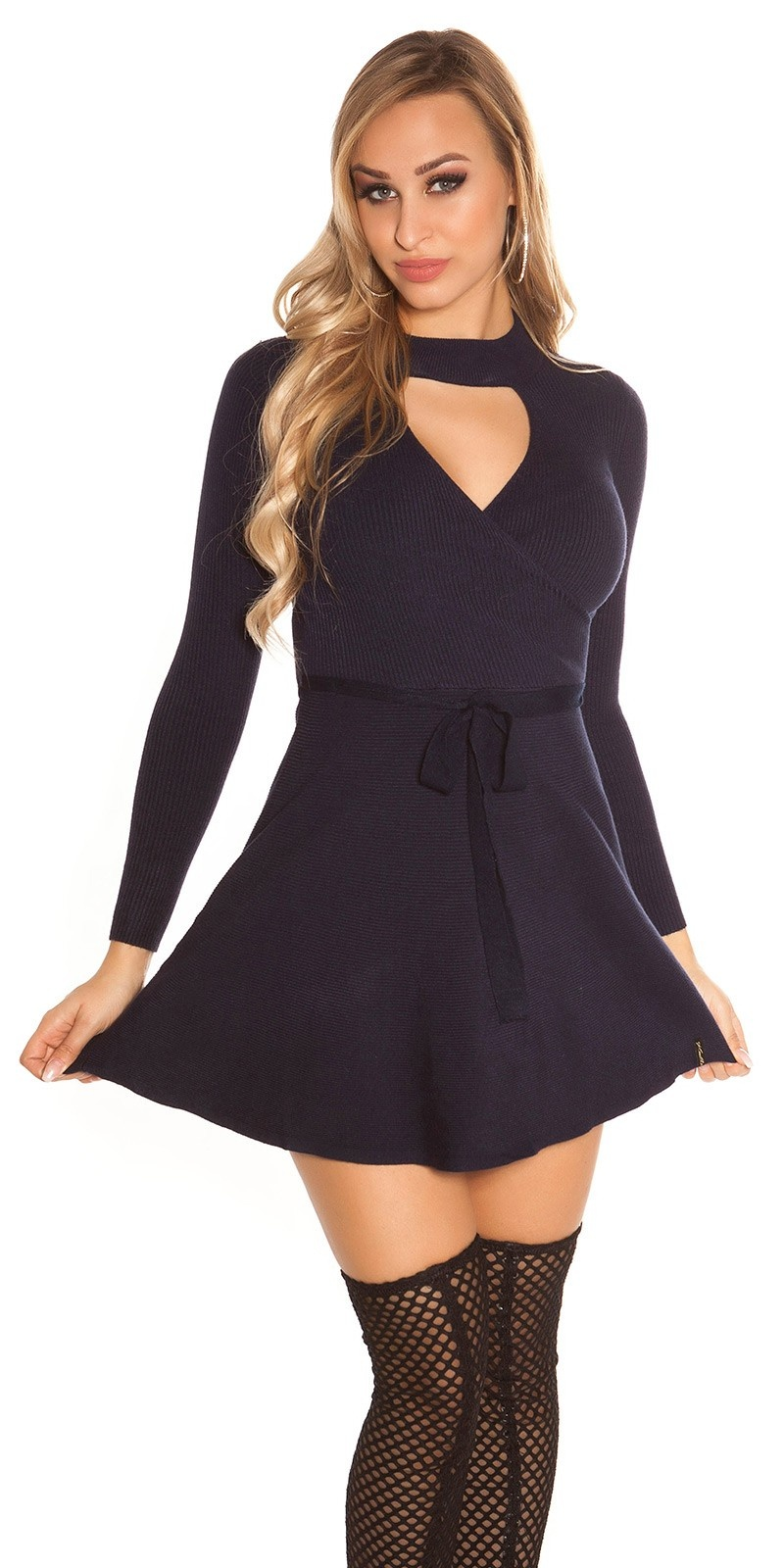 Sexy KouCla ripp knit dress wrap look Navy