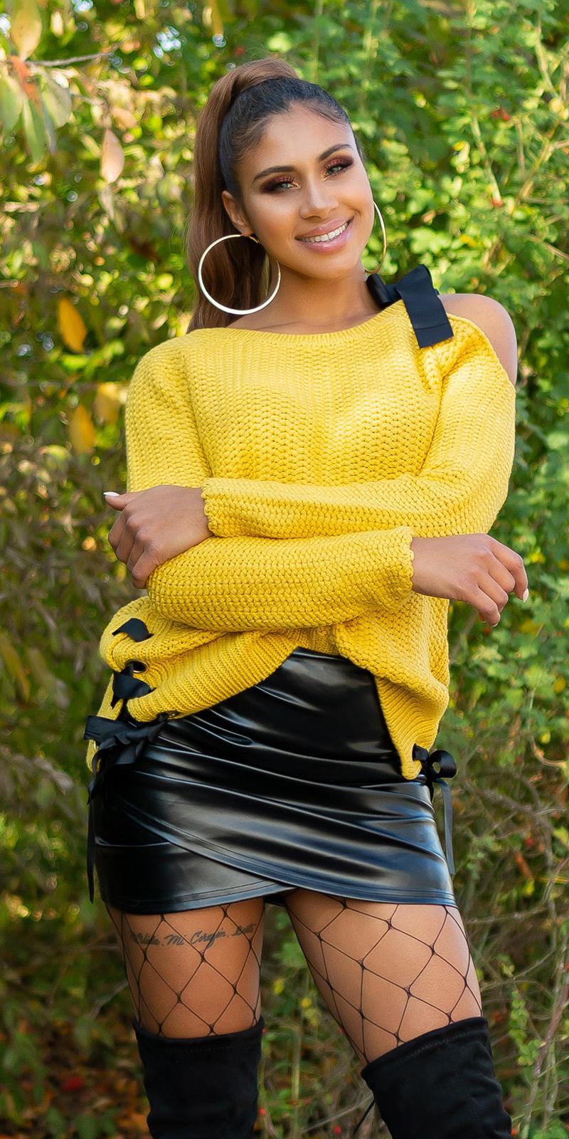 Sexy KouCla One Shoulder knit jumper Mustard