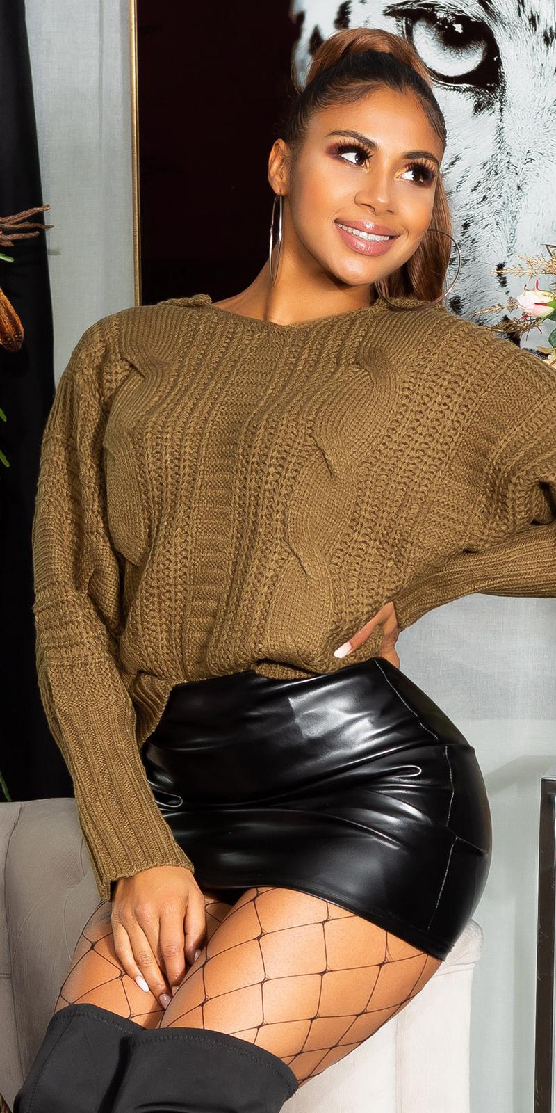 Trendy Koucla knit hoodie with cable stitch Khaki