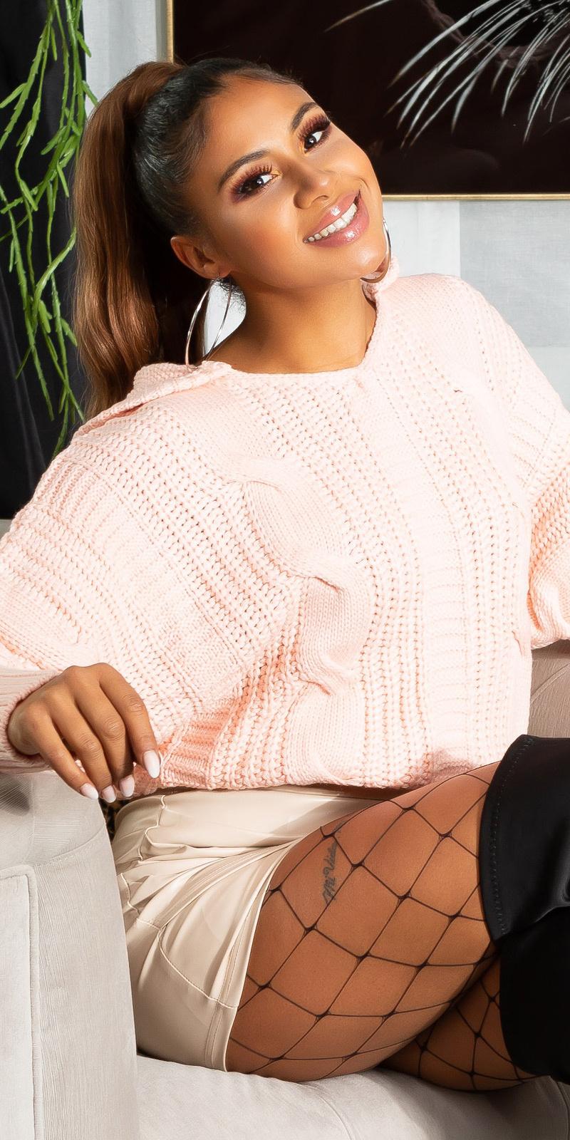 Trendy gebreide trui met capuchon en kabel patroon rose